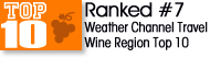 Top 10 Wine Regions rated by Weather channel badge